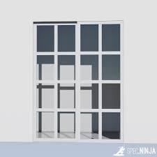 white frame clear panel closet door