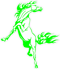 4 5inx5in Green Rearing Horse Bumper Sticker Car Vinyl Truck Window Decal Stickertalk