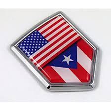 Amazon Com Usa Puerto Rico American Rican Flag Car Chrome Emblem Decal Sticker W Adhesive Automotive