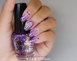 violet nails with grant nail art