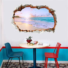 Amazon Com Karooch 3d Broken Wall Pvc Summer Beach Scene Wall Decal Personality Door Entrance Stickers Mural Decoration For Bedroom Study Tv Background Home Kitchen