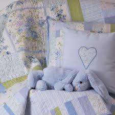misty blue patchwork quilt nursery set