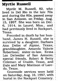 Obituary for Myrtle M. Russell, 1914-1997 (Aged 82) - Newspapers.com