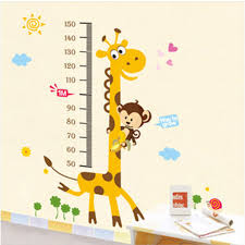 Kids Giraffe Height Chart Removable Large Vinyl Wall Stickers Wall Decals Decalsdesignindia