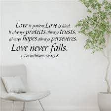 1 Cor 13 Song Of Love Is Patient Bible Verse Vinyl Wall Sticker Decals Love God Love Life Quote Art Decor Living Room Bedroom Wall Stickers Aliexpress