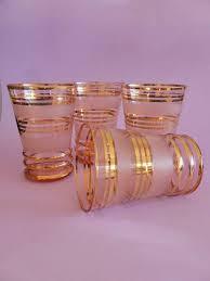 mid century modern pink gold striped