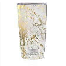 Amazon Com Skin Decal Vinyl Wrap For Yeti 20 Oz Rambler Tumbler Cup Skins Stickers Cover Marble White Gold Flake Granite Kitchen Dining