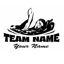 Swim Sticker Logo Name Swimmer Decal Swimming Posters Vinyl Wall Decals Pegatina Quadro Parede Decor Mural Swim Logo Swimming Swim Team
