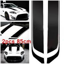 2x Black Racing Sports Vinyl Stripe Decal Car Hood Graphics Sticker For All Cars Ebay