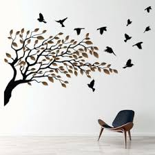 Birds Tree Brown Autumn Leaves Wall Decal Sticker Ws 46648 Ebay