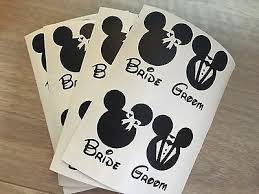 8 X Minnie Mickey Bride Groom Wedding Vinyl Wine Glass Decals Ebay