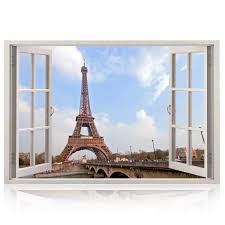 Buy Realistic Window Wall Decal Peel And Stick Paris Decor For Living Room Bedroom Office Playroom Urban Wall Murals Removable Window Frame Style City Wall Art Vinyl Poster Wall
