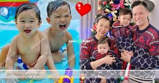 Myolie Wu's sons smile and play water happily | Asian E-News