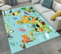 Floor Mat Kids Bedroom Carpet Living Room Area Rugs Cartoon Animals World Map Ebay