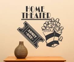Home Theater Movie Ticket Popcorn Vinyl Wall Art Sticker Etsy