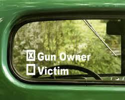 2 Gun Owner Or Victim Decals Sticker For Car Window Bumper Truck Laptop Rv Ebay