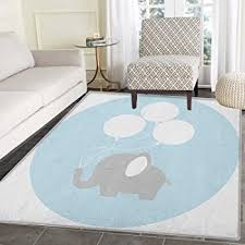 Amazon Com Elephant Nursery Rug Kid Carpet Little Baby Elephant With Big Balloons Happiness Funny Icon Home Decor Foor Carpe 3 X5 Mauve Pale Blue White Furniture Decor