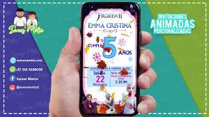 Tarjeta De Invitacion Animada Para Whatsapp De Frozen 2