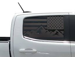 Amazon Com Mountain Scene Usa American Flag Decals For Chevy Colorado In Matte Black For Side Windows Fits 2014 2019 2nd Generation Cc4ma Handmade