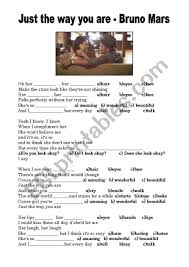 Just The Way You Are - Bruno Mars - ESL worksheet by eveab