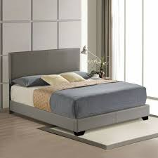 faux leather bed gray wooden