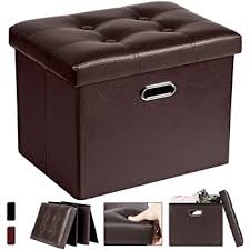 Amazon Com Cosyland Ottoman With Storage Folding Leather Ottoman Footrest Foot Stool Brown Ottoman For Kids Room Small Rectangle Collapsible Bench Furniture With Handles Lid 17x13x13in Furniture Decor