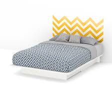 Shop South Shore Step One Queen Storage Platform Bed With Yellow Chevron Headboard Ottograff Wall Decal Overstock 10296181