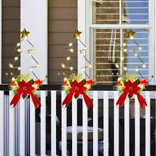 Amazon Com Doingart 3pcs Christmas Light Decoration Christmas Trees With Lights And Red Bows Outdoor Fence Decor Battery Operated Gold Berries Poinsettia Foliage Accents Ornaments Home Kitchen