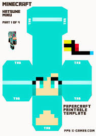 Large Printable Hatsune Miku Minecraft Character Minecraft
