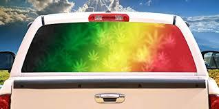 Amazon Com Signmission Rasta Rainbow Rear Window Graphic Truck View Thru Vinyl Decal Back Home Kitchen
