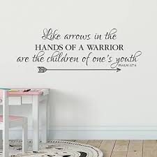Amazon Com N Sunforest Wall Decal Vinyl Decal Psalm 127 4 Like Arrows In The Hands Of A Warrior Are The Children Of One S Youth Family Photo For Home Decor 12 X34 Home Kitchen