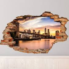 Wall Decal Landscape Brooklyn Bridge Cheap Stickers World Discount Wall Stickers Madeco Stickers