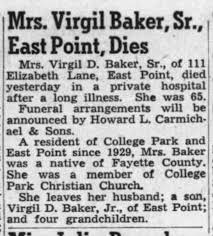 Harper Martha Adeline Baker dies 02 Jan 1949 Atlanta Constitution ...