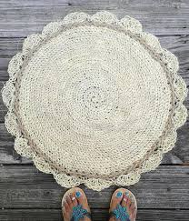 jute and sisal cord round crochet rug