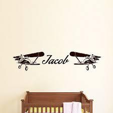 Name Wall Decals Boy Decal Vinyl Stickers Plane Airplane Art Nursery Decal Mn3 Ebay