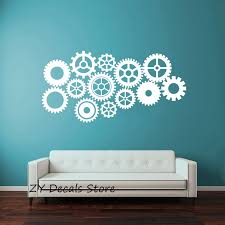 Creative Gear Wall Stickers Home Decor Living Room Steampunk Gears And Cogs Geometric Machine Vinyl Wall Decal For Office S657 Vinyl Wall Decals Wall Decalsgear Wall Stickers Aliexpress