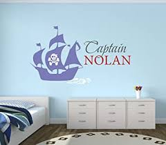 Amazon Com Custom Pirate Boat Name Wall Decal Pirate Boy Room Decor Nursery Wall Decals Captain Pirate Vinyl Sticker For Boys Baby
