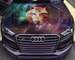 Vinyl Car Hood Wrap Full Color Graphics Decal Wolf Abstraction Sticker Ebay