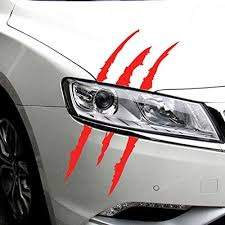 Amazon Com 2pcs Funny Car Sticker Reflective Monster Scratch Stripe Claw Marks Car Auto Headlight Decoration Vinyl Decal Car Stickers Red Kitchen Dining