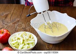 mixing batter or dough for apple pear