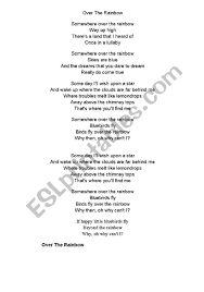 English worksheets: Somewhere over the Rainbow Lyrics & Fill in ...