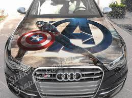Vinyl Car Hood Full Color Graphics Decal Captain America Etsy Captain America Avengers Decals Car Paint Jobs
