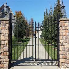 China High Security Fence Powder Coated Steel Fence Wrought Iron Driveway Arched Double Gate Photos Pictures Made In China Com