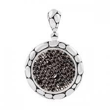 silver black sapphire large round pendant
