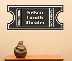 Amazon Com Byron Hoyle Persionalized Movie Ticket Wall Art Theater Sharp Movie Show Entertainment Vinyl Decal Wall Art Sticker Theatre Rec Room Home Kitchen