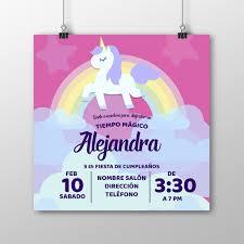 Invitacion Alta Calidad Unicornio 001 Fiesta Cumpleanos Nina