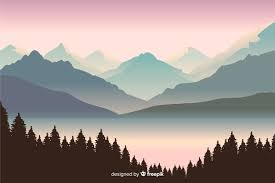 beautiful view with mountains landscape