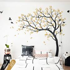 Amazon Com Wall Decal Large Tree Decals Huge Tree Decal Nursery With Birds White Tree Decals Wall Tattoos Wall Mural Removable Vinyl Wall Sticker 032 Handmade