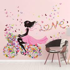 Amazon Com Dafrew Girl Bedroom Wall Sticker Stickers Princess Room Children Room Decoration Cute Girls Bedside Wall Painting Wallpaper Self Adhesive Color 2 Home Kitchen