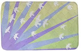 Amazon.com: ArtVerse Katelyn Smith Birds and Sunset Bath Mat, 34 x 21,  Purple Blue & Yellow: Home & Kitchen